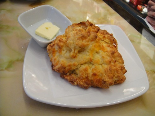 The scone weighs about 8 ounces and, as a ball, measures 4 to 5 inches in diameter.