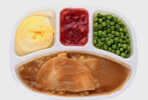 """ a five ounce turkey and gravy dinner can pack 787 mg of Sodium."""