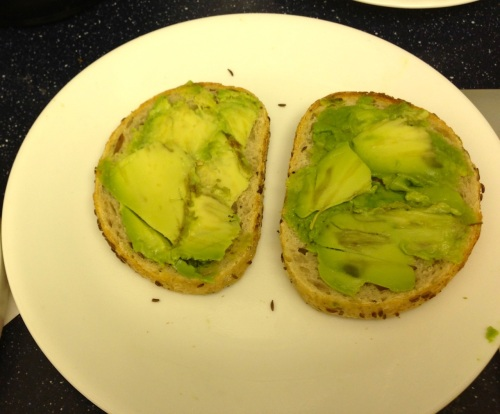 Here is the rye bread liberally covered with the avocado slices
