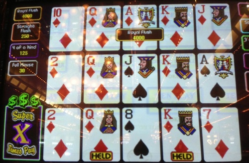 My game of choice is video poker. The Royal Flush is a jackpot winner.