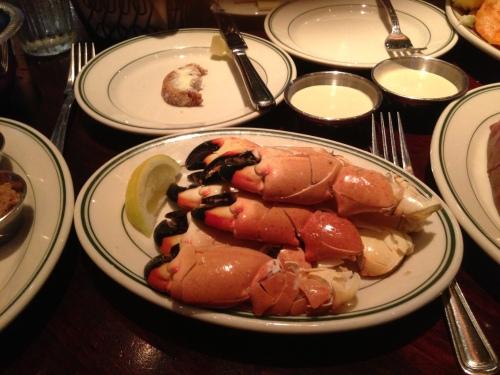 Cracked crab legs at Joe's were part of my overindulgence.
