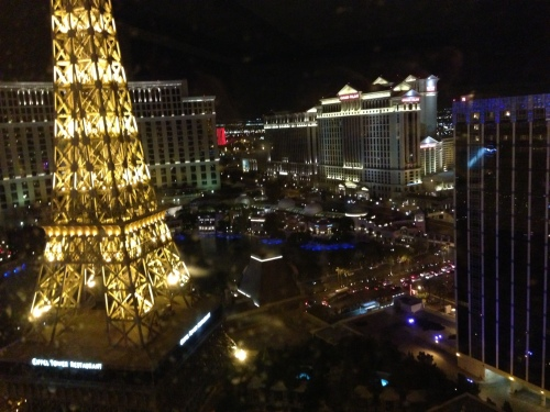 I had a nice view of the Eiffel Tower and the Las Vegas strip from my room.
