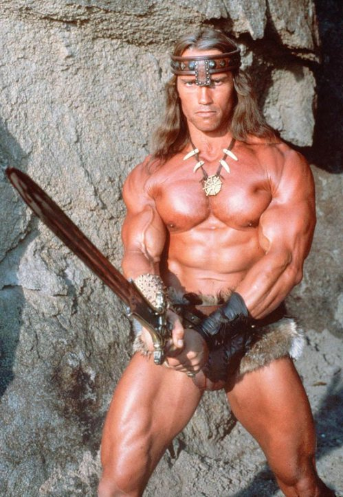 Arnold Schwarzenegger as Conan the Barbarian. Six foot two inches tall, 257 pounds, BMI 33 - obese?