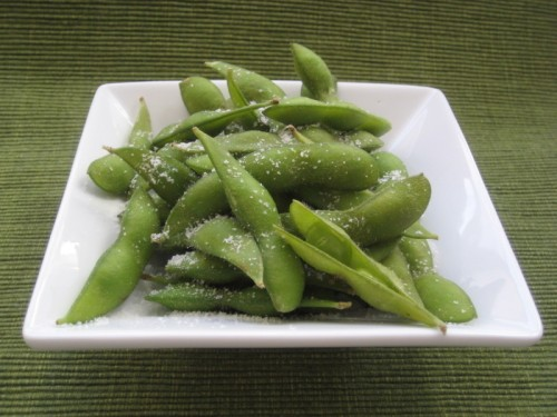 Boiled Edamame with a dusting of coarse salt.