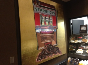 This seemed an appropriate sign at the Starbuck's shop in Caesar's.