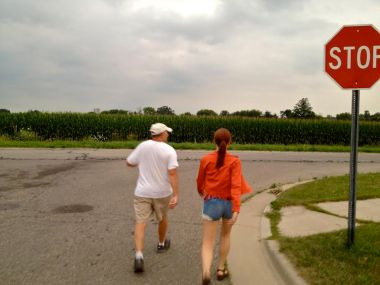 My dad used to be a runner. Now he takes a long, brisk walk every day. We go with him when we visit, and that helped spur us to add a second walk to our daily routine.