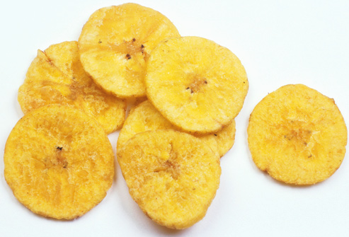 Banana chips are not a healthy fresh fruit snack