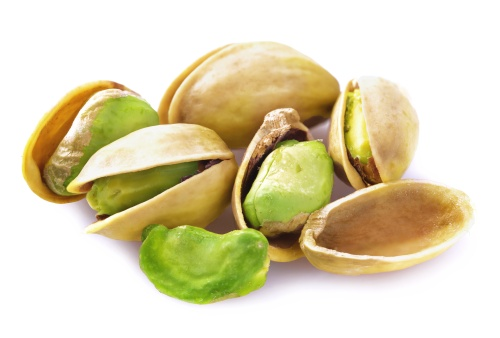 Fresh pistachios isolated.