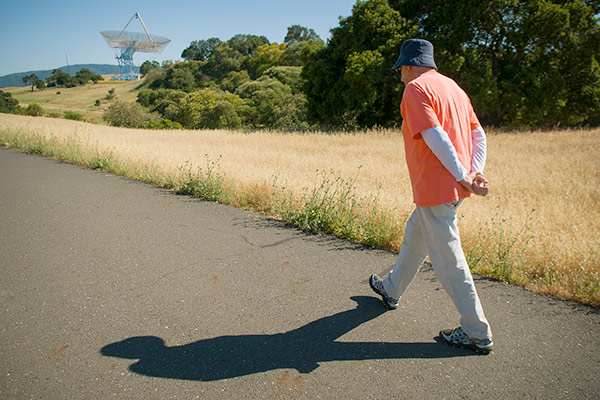 Stanford professor Michel Serres hikes the Dish on a regular basis.