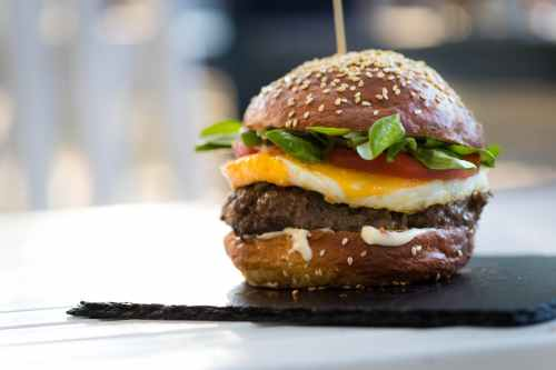 hamburger with egg and vegetable