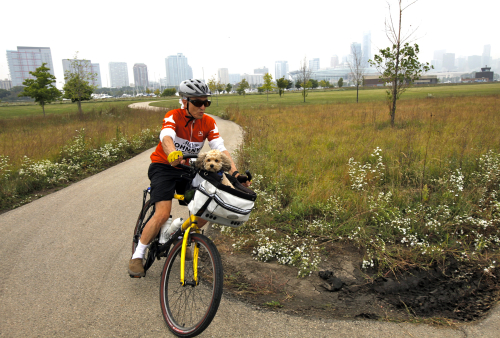 Riding on Northerly Island in Chicago